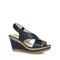 Good for the Sole - Navy wide fit high wedge sandals
