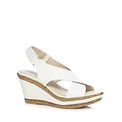 Good for the Sole - White wide fit high wedge sandals