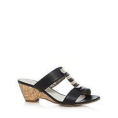 Good for the Sole - Black metal trim wide fit mid wedge sandals