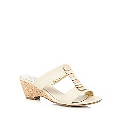 Good for the Sole - Cream 'Gift' cork wide fit wedge sandals