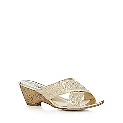Good for the Sole - Gold studded wide fit mid wedge sandals