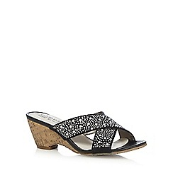 Good for the Sole - Black studded wide fit mid wedge sandals