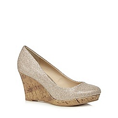 The Collection - Gold high wedge shoes