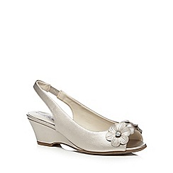 Good for the Sole - Metallic 'Gaven' flower wide fit wedge sandals