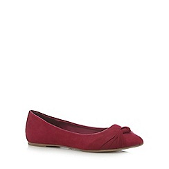 The Collection - Dark pink bow flat shoes