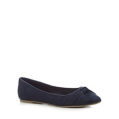 The Collection - Navy bow flat shoes