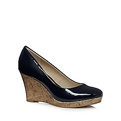 The Collection - Navy patent high wedge court shoes