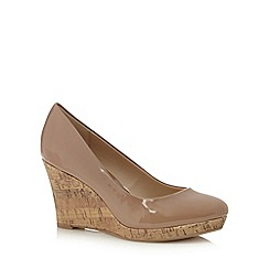 The Collection - Camel patent high wedge court shoes
