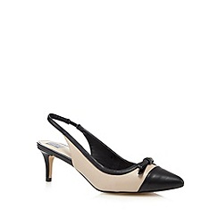 The Collection - Cream bow applique pointed toe mid heel court shoes