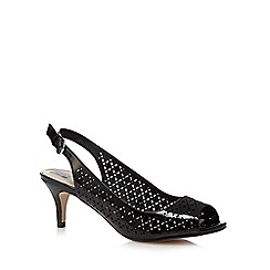 The Collection - Black floral cut-out peep toe court shoes