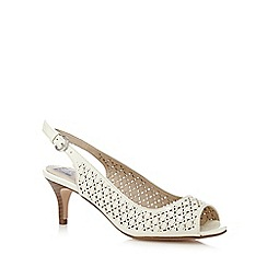 The Collection - Cream floral cut-out peep toe court shoes