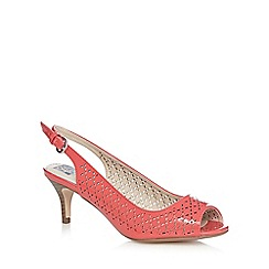 The Collection - Coral floral cut-out peep toe court shoes