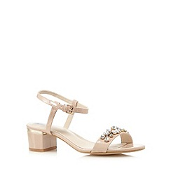 The Collection - Pink jewel embellished mid heel sandals