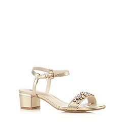 The Collection - Gold jewel embellished mid heel sandals