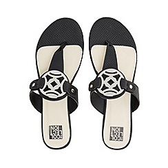 The Collection - Black croc-effect cut-out charm flat sandals