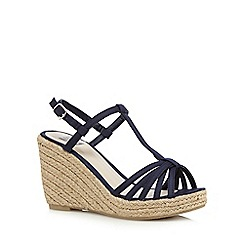 The Collection - Navy straw high wedge sandals
