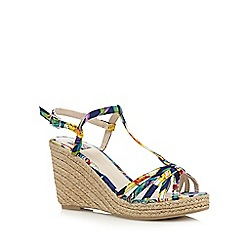 The Collection - Beige straw high wedge sandals