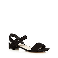 The Collection - Black two part textured low sandals