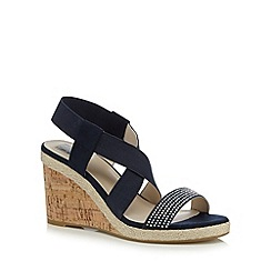 The Collection - Navy textured high sandals