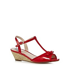 The Collection - Red patent bow applique mid wedge sandals