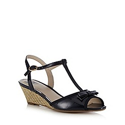 The Collection - Navy patent bow applique mid wedge sandals