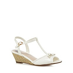 The Collection - White patent bow applique mid wedge sandals