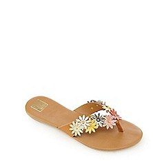 The Collection - Multi-coloured floral leather flip-flops