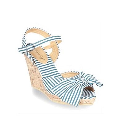 Navy canvas striped wedge sandals