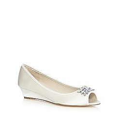 Debut - Ivory jewel low wedge shoes