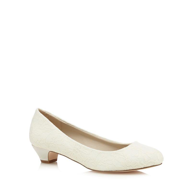 Debut - Ivory Lace Dana-B Mid Kitten Heel Court Shoes