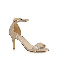 Debut - Gold glittered high stiletto heel ankle strap sandals