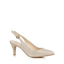 Debut - Gold glittery wide fit sling-back heels