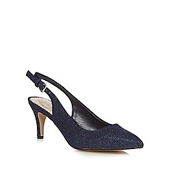 Debut - Navy glittery wide fit sling-back heels