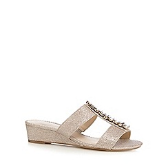 Debut - Gold jewel embellished mid wedge wide fit sandals