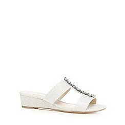 Debut - Silver jewel embellished mid wedge wide fit sandals