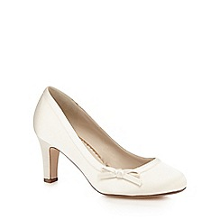 Debut - Ivory satin bow applique wide fit heels