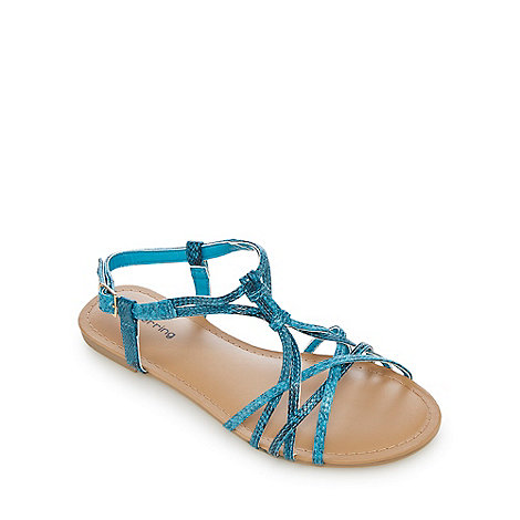 Red Herring - Turquoise snakeskin-effect overlapping strap detail flat sandals
