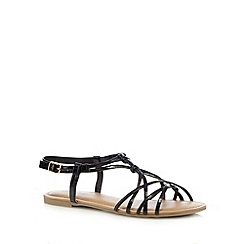 Red Herring - Black flat overlapping strap detail flat sandals