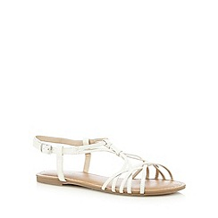 Red Herring - White flat overlapping strap detail flat sandals