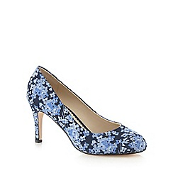 Debut - Blue floral print mid court shoes