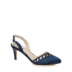 Debut - Navy diamante embellished low court shoes