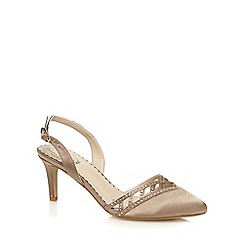 Debut - Taupe diamante embellished low court shoes