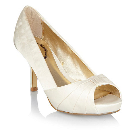 Debut - Ivory pleated peep toe court shoes