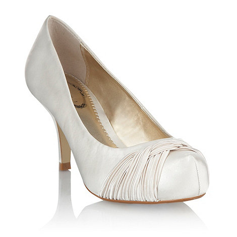 Debut - Ivory satin pleated weave court shoes