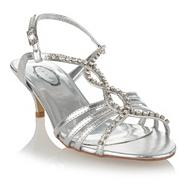 Silver diamante stud sandals