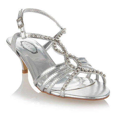 Debut - Silver diamante stud sandals