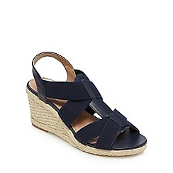 Mantaray - Navy elasticated high wedge heels
