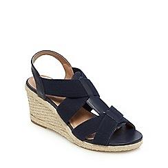 Mantaray - Navy elasticated high wedge heels