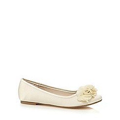 Debut - Ivory chiffon flower applique flat shoes