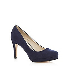 Red Herring - Navy suedette high wide fit court shoes